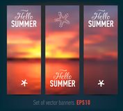 Set of banners with sunset background Royalty Free Stock Photo