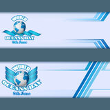 Set of banners template for World Oceans day, event celebration Royalty Free Stock Image