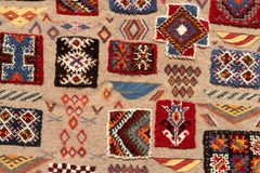 Set of banners with textures of berber traditional wool carpet with geometric pattern, Morocco, Africa. 2019 royalty free stock photo
