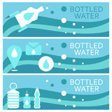 Set of banners for theme bottled  flat design. Vector illus Stock Photo