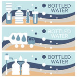 Set of banners for theme bottled water design. Vector illus Royalty Free Stock Photo