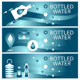 Set of banners for theme bottled water  design. Vector illus Stock Photo