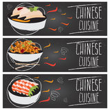 Set of banners for theme chinese cuisine  different tastes  Royalty Free Stock Images