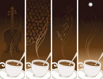 Set of banners on the theme of coffee and music Stock Image
