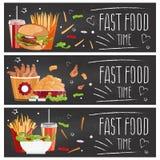 Set of banners for theme fast food hamburgers,fries,cola. Set of banners for theme fast food with hamburgers,fries,cola and chicken nuggets. Vector illustration stock illustration