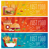 Set of banners for theme fast food hamburgers,fries,cola an. Set of banners for theme fast food with hamburgers,fries,cola and chicken nuggets. Vector stock illustration
