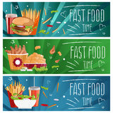 Set of banners for theme fast food hamburgers,fries,cola an. Set of banners for theme fast food with hamburgers,fries,cola and chicken nuggets. Vector royalty free illustration