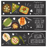 Set of banners for theme food,vegetarians food .Vector i Stock Photography