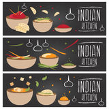 Set of banners for theme indian cuisine  different tastes fl Stock Photo