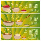 Set of banners for theme indian cuisine  different tastes  Royalty Free Stock Photography