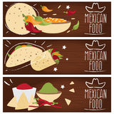 Set of banners for theme mexican cuisine different tastes  Royalty Free Stock Photo