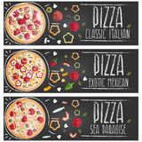 Set of banners for theme pizza  different tastes flat design Royalty Free Stock Image