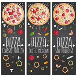 Set of banners for theme pizza  different tastes flat design Stock Photo