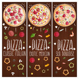 Set of banners for theme pizza  different tastes flat design Royalty Free Stock Photo