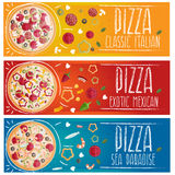 Set of banners for theme pizza different tastes flat design Royalty Free Stock Photography