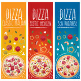Set of banners for theme pizza  different tastes flat design Stock Photos