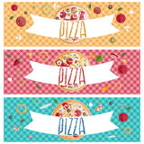 Set of banners for theme pizza  different tastes flat design Stock Images