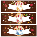 Set of banners for theme pizza  different tastes flat design Royalty Free Stock Images
