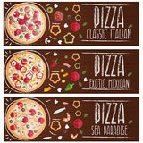 Set of banners for theme pizza with different tastes flat design Stock Photo