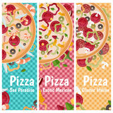 Set of banners for theme pizza  different tastes flat design Royalty Free Stock Photos