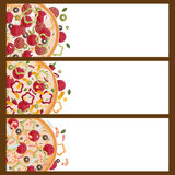 Set of banners for theme pizza with different tastes Royalty Free Stock Photo