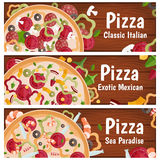 Set of banners for theme pizza  different tastes flat design Stock Image