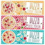 Set of banners for theme pizza with  tastes flat design Royalty Free Stock Image