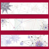 Set of banners on the theme of science and technology, isolated on a red background. Stock Images