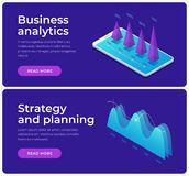 Set of banners on theme of strategy planning and business analysis. Image of growing charts, financial graphs. Financial review with infographic elements Royalty Free Stock Image