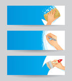 Set of banners. Set of three baners with hands washing, drawing and painting Royalty Free Stock Images