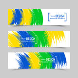 Set of banners. Three color concept. Geometric background with Brazil flag colors. Can be used in cover design, book design, website background, CD cover Vector Illustration