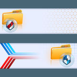 Set of banners, three dimensions arrangement with folder symbol and metallic shield Stock Photography