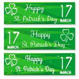 Set banners with three leaved shamrock symbols. 17 March. Backgrounds with congratulations on St. Patricks Day. Set banners with three leaved shamrock symbols Stock Photo