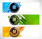 Set of banners with timers Stock Photo