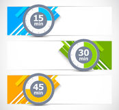 Set of banners with timers Stock Photos