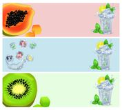 Set of Banners with Tropical Fruits in Ice Cubes Stock Photography