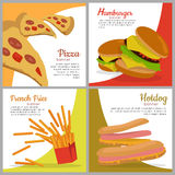 Set of banners with unhealthy food. Junk food. Stock Images