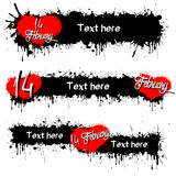Set of banners with Valentine`s Day. And 14 February. Black background. Vector illustration Stock Image