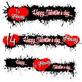 Set of banners with Valentine`s Day. And 14 February. Black background. Vector illustration Royalty Free Stock Photography