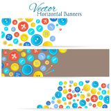 Set of 3 banners with vintage buttons Stock Photos