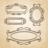 Set of banners. Vintage cartouches on old paper background. Hand drawn vector illustration Stock Image