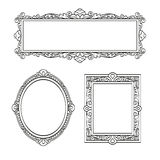 Set of banners. Vintage frames. Isolated on white background. Hand drawn vector illustration Stock Photography