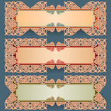 Set of banners with vintage, ornamental, arabesques design Royalty Free Stock Photos