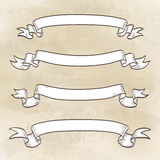 Set of banners. Vintage ribbons. Hand drawn  illustration Royalty Free Stock Photo