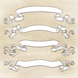 Set of banners. Vintage ribbons. Hand drawn vector illustration Royalty Free Stock Images