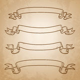 Set of banners. Vintage ribbons. On old paper background. Hand drawn  illustration Stock Images