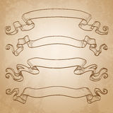 Set of banners. Vintage ribbons. On old paper background. Hand drawn vector illustration Stock Image