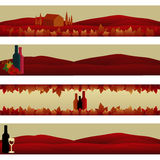 Set of Banners: Wine Theme. Set of four elegant banners Royalty Free Stock Photography
