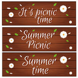 Set of banners with wooden desk  grass and flower for summer Stock Images