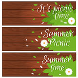Set of banners  wooden desk grass and flower for summer Stock Photography